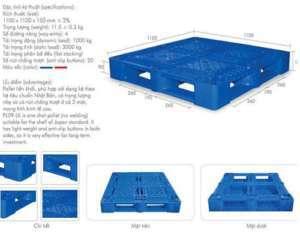 Pallet nhựa 1 mặt 1100x1100x150mm