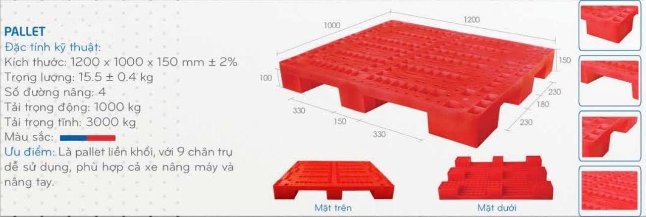 Pallet nhựa 9 chân 1200x1000x150mm