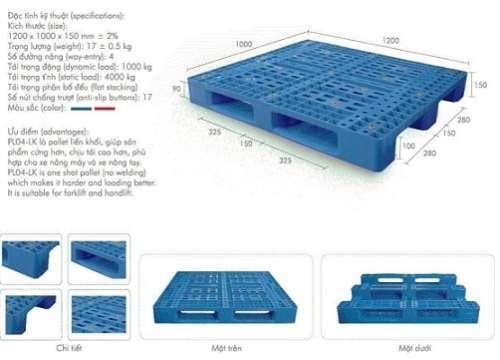 Pallet lưới 1200x1000x150mm