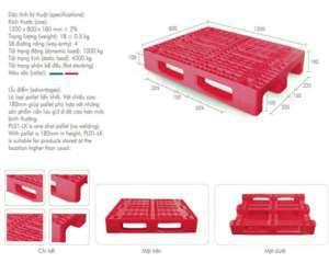 Pallet nhựa 1 mặt 1200x800x180mm