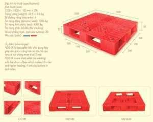 Pallet nhựa đan lưới 1200x1000x150mm