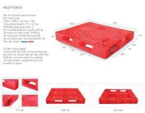 Pallet nhựa mặt lưới 1200x1000x145mm