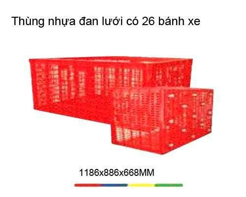 Thùng nhựa đan lưới 26 bánh xe 1186x886x668mm