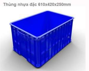 Thùng nhựa đặc HS017, sóng nhựa 610x420x250mm