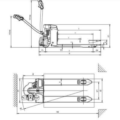 Chi tiết thông số kỹ thuật xe nâng điện kéo tay 1.5 tấn EP