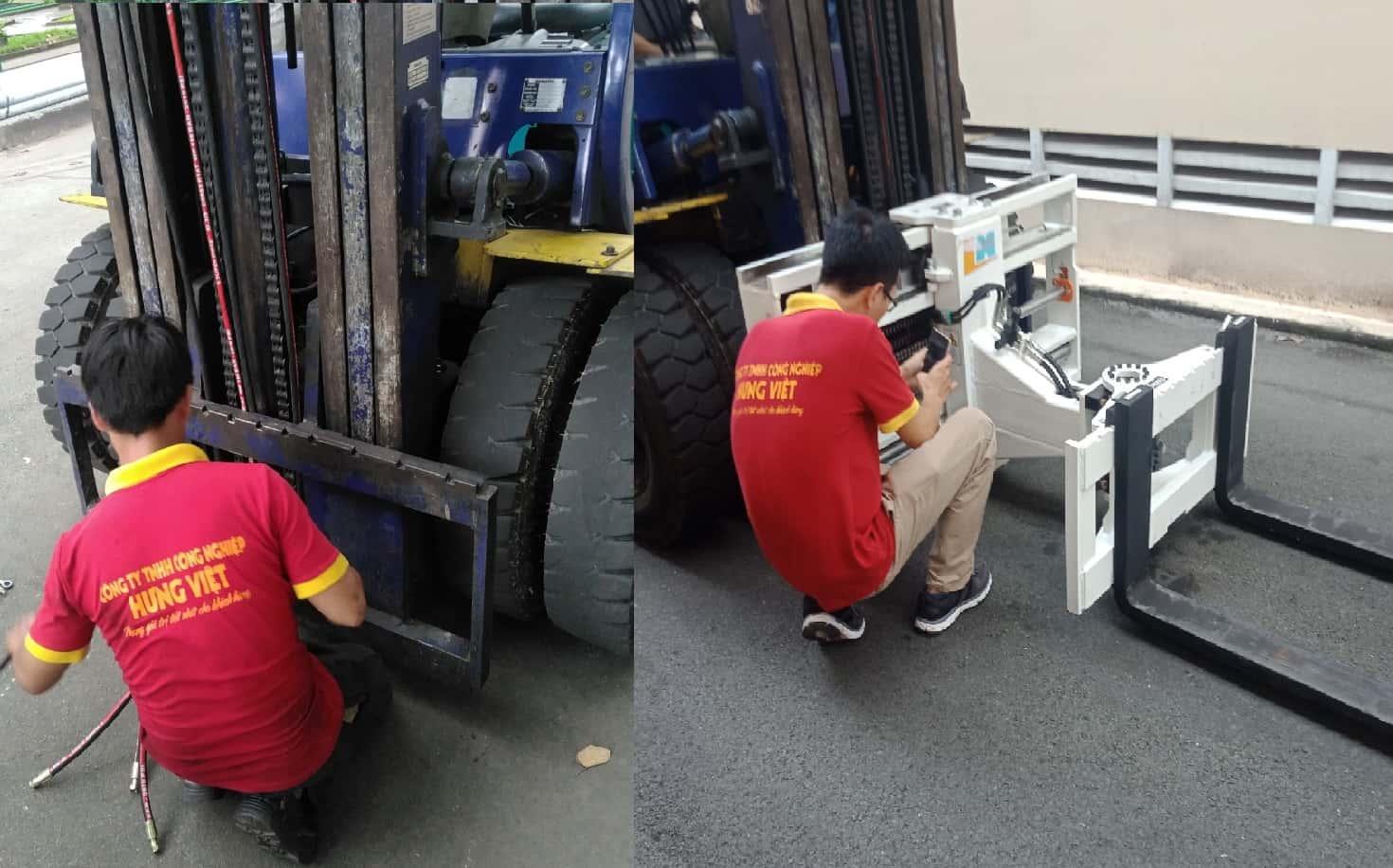 lắp đăt bộ càng quay ngang 3 bên - bộ xúc 3 mặt dùng cho xe nâng
